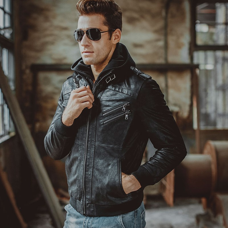 Men's Black Bomber Leather Jacket 003