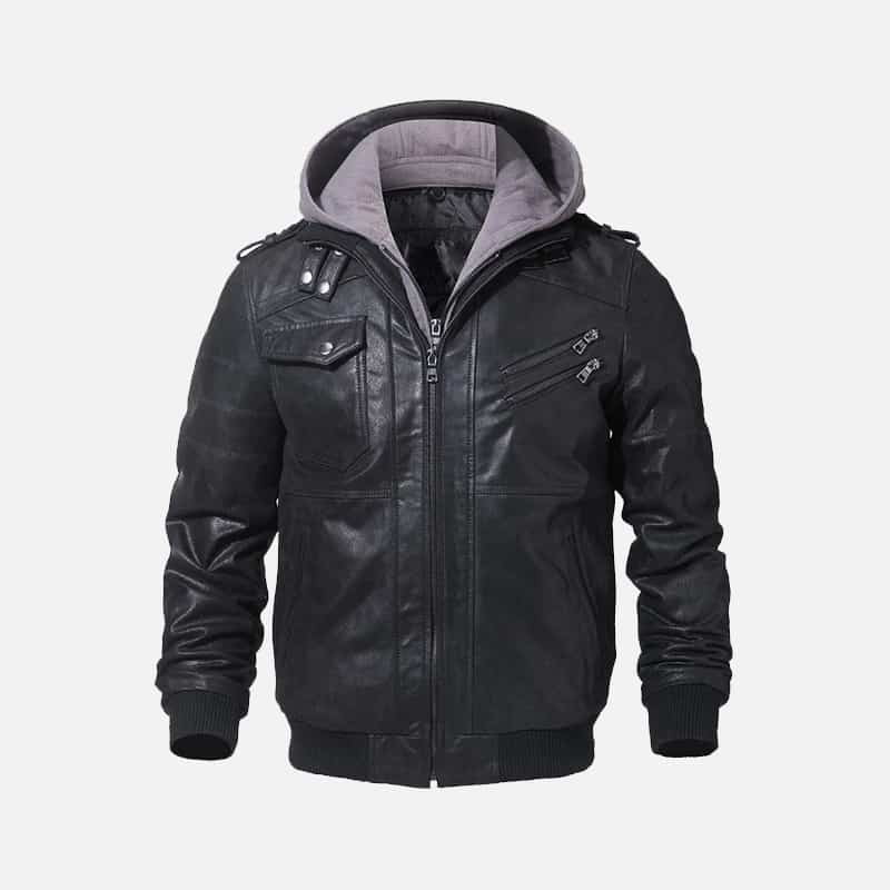 Men's Black Bomber Leather Jacket 002