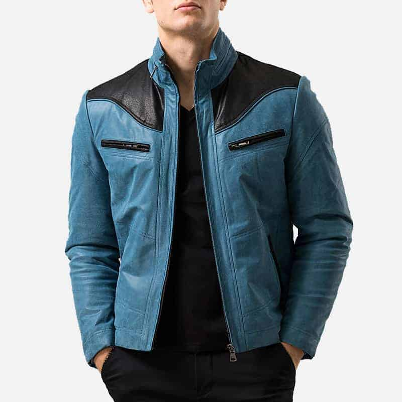 Blue & Black Leather Jacket 001