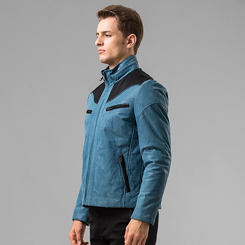 Blue & Black Leather Jacket 002