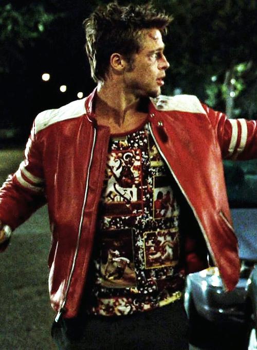 Fight Club Tyler Durden Mayhem Red White Leather Jacket