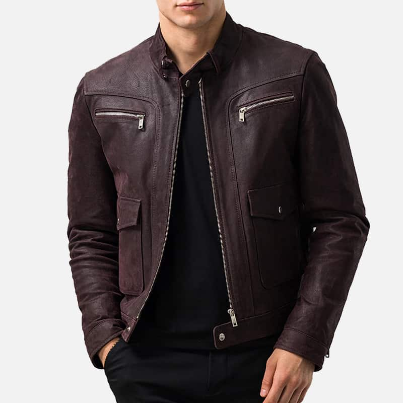 Mens Dark Maroon Leather Jacket 01