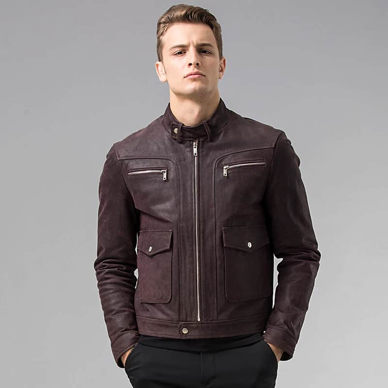 Men's Dark Maroon Leather Jacket 02