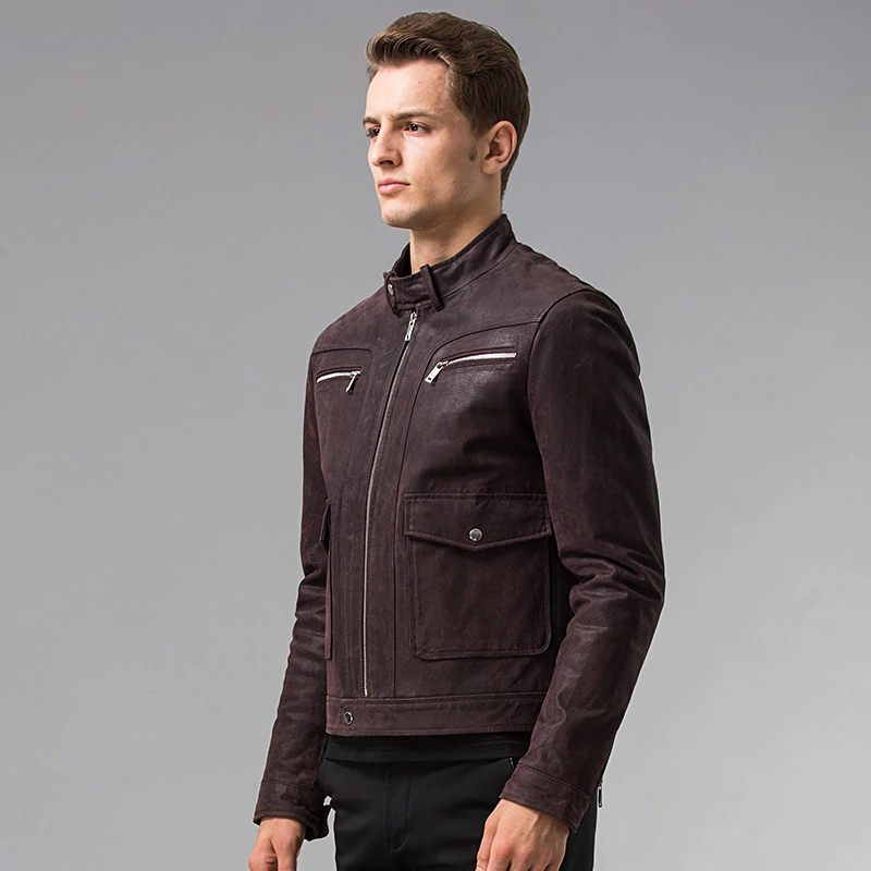 Men's Dark Maroon Leather Jacket 03