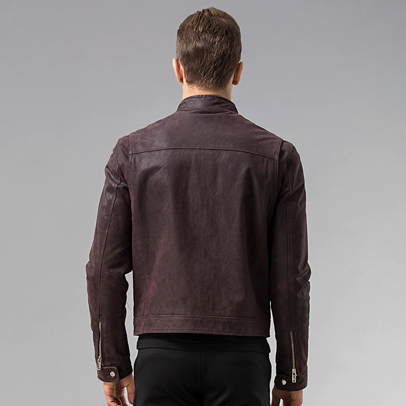 Men's Dark Maroon Leather Jacket 04