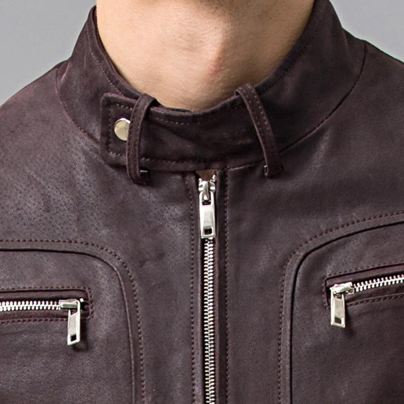 Men's Dark Maroon Leather Jacket 05