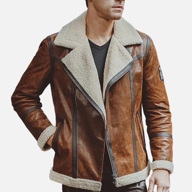 Mens Brown Fur shearling Jacket