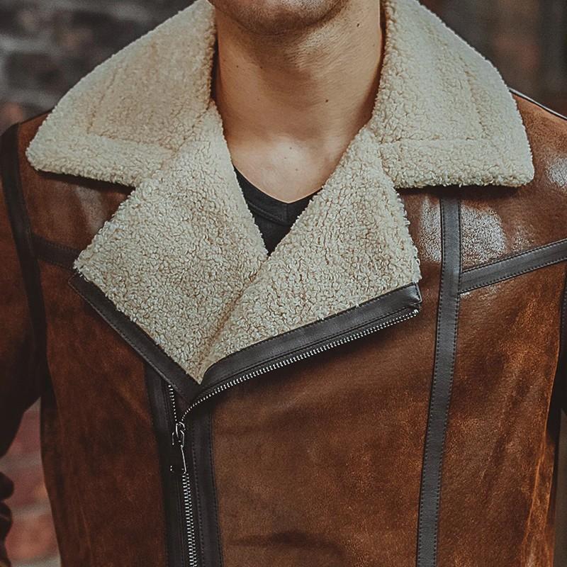 Mens Brown Fur shearling Jacket 02