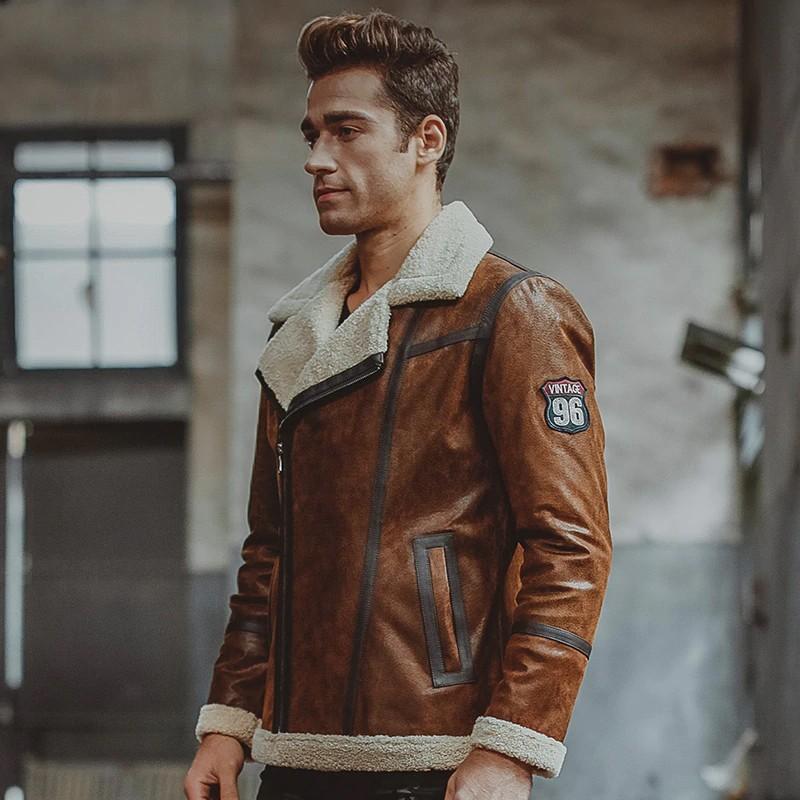 Mens Brown Fur shearling Jacket 04