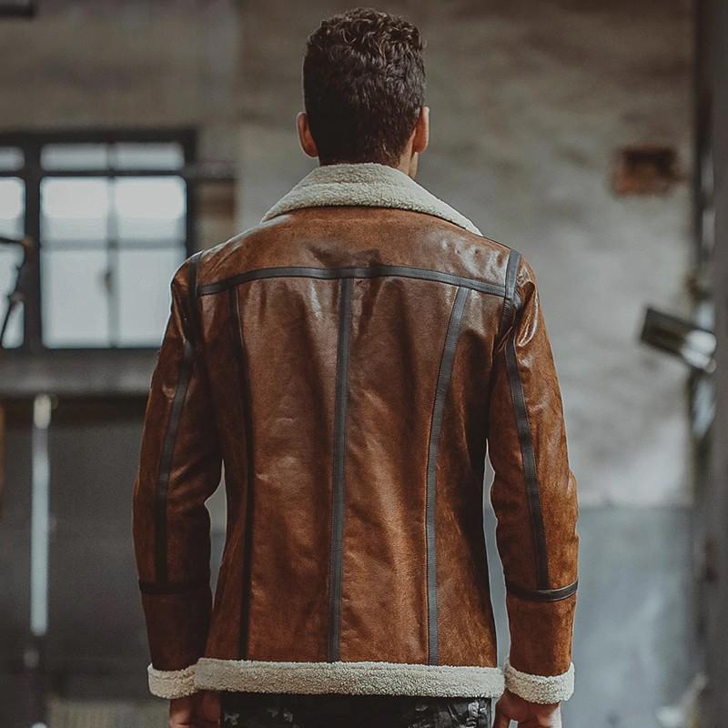 Mens Brown Fur shearling Jacket 03