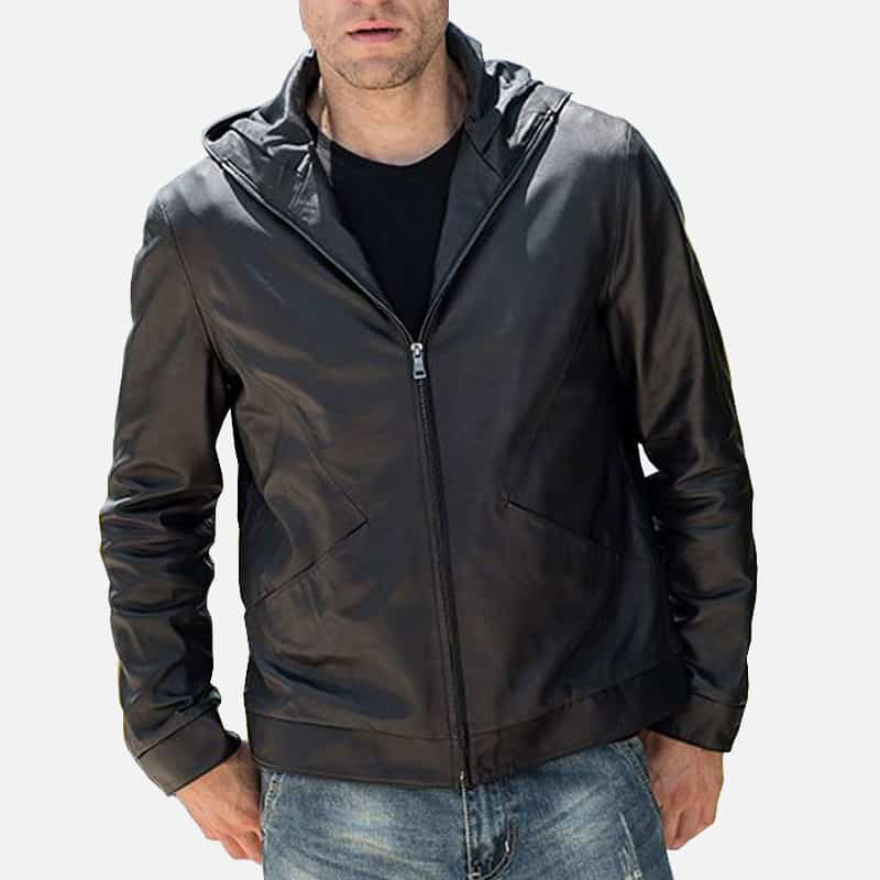 Men's Real Cowhide Hooded Leather Jacket TLJ-01