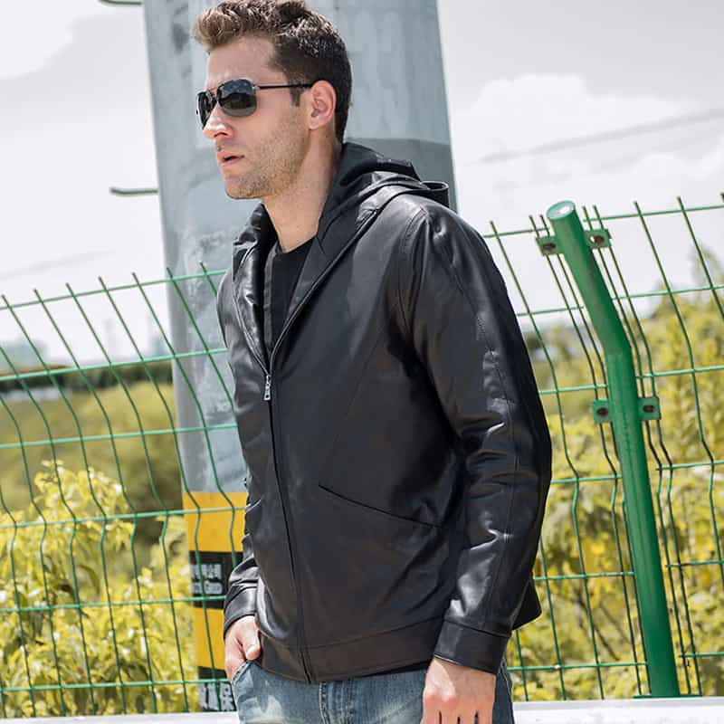 Men's Real Cowhide Hooded Leather Jacket TLJ-03