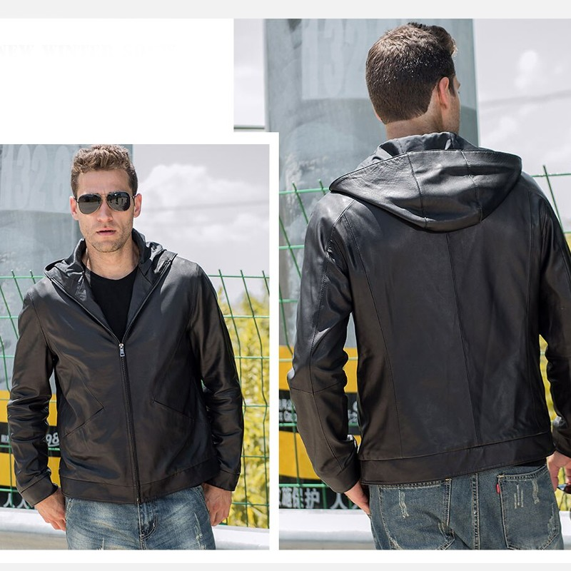 Men's Real Cowhide Hooded Leather Jacket TLJ-04