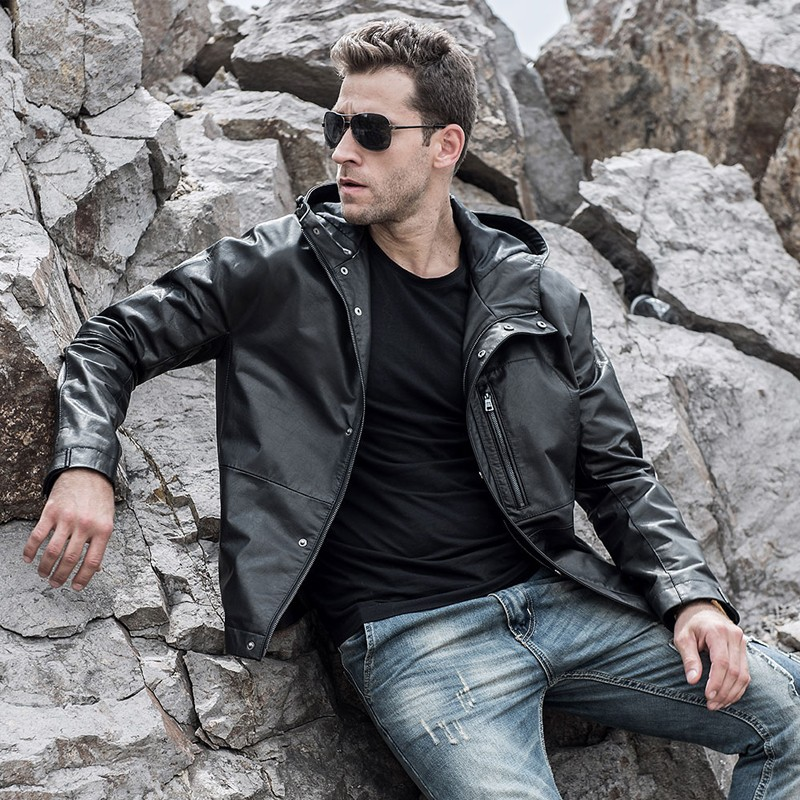 Men's Real Cowhide Leather Jacket 002