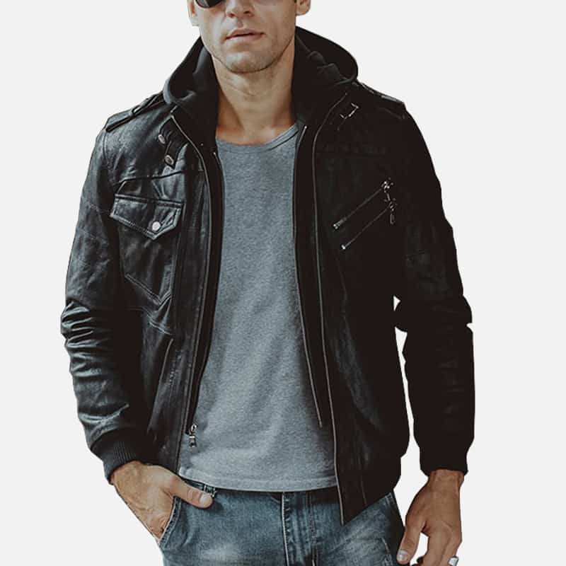 Men's Black Bomber Leather Jacket 001