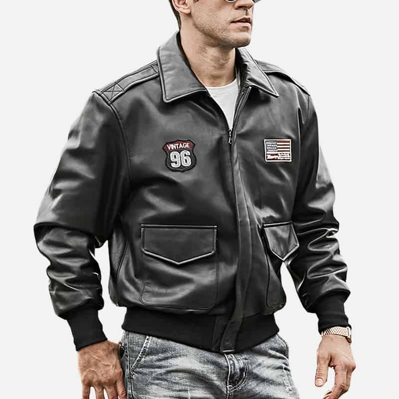 Mens bomber pilot style leather jacket 01