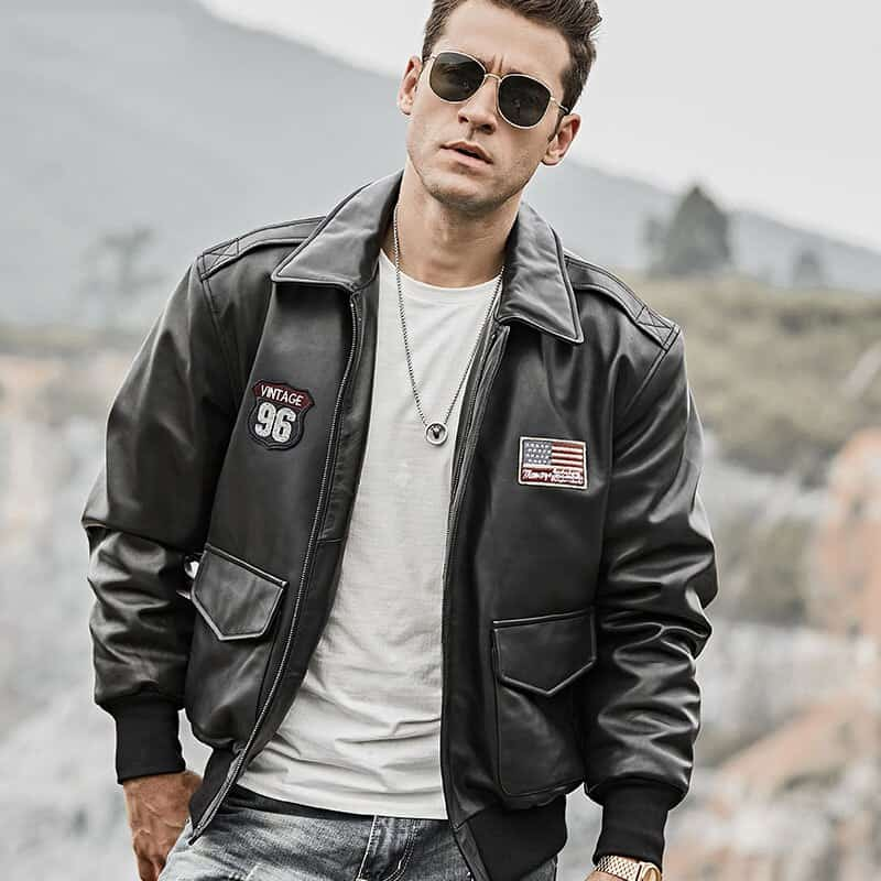 Mens bomber pilot style leather jacket 02