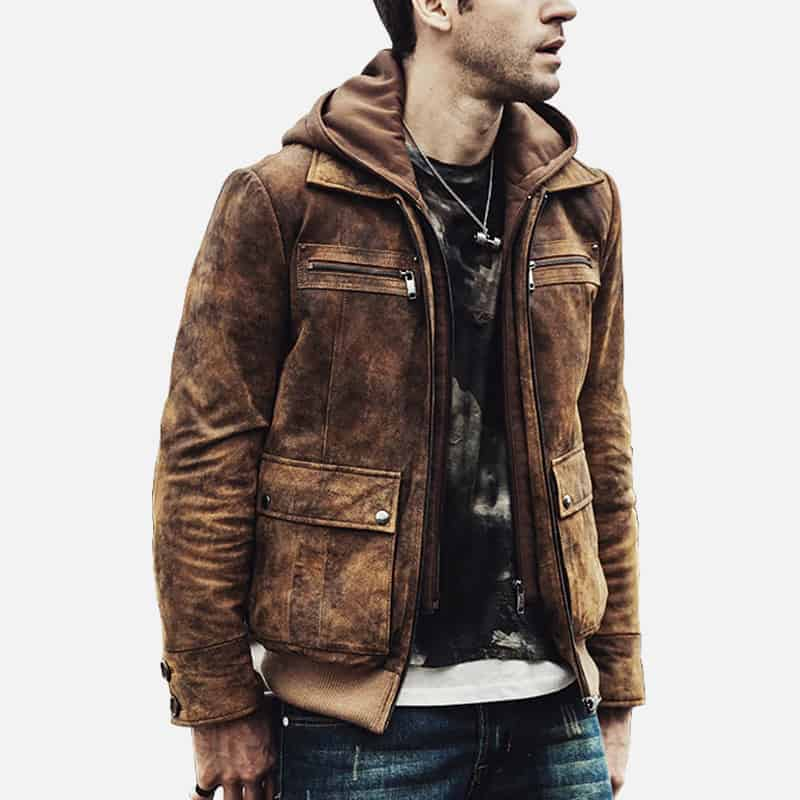Men's distressed brown bomber leather jacket 03