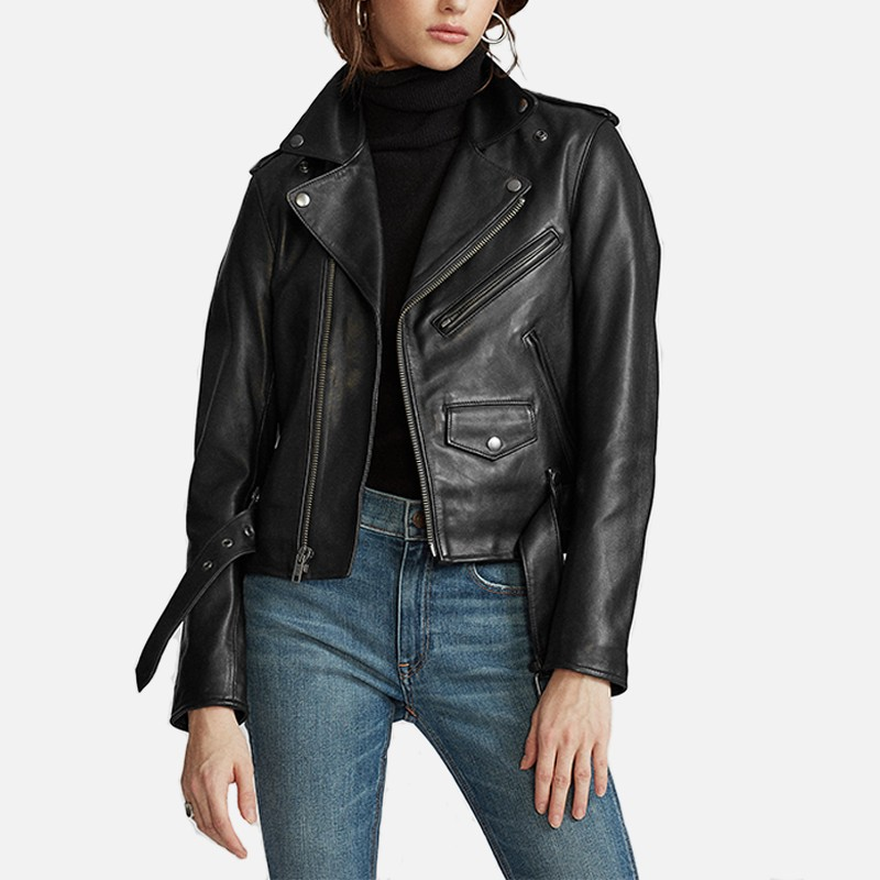 Womens Leather Jackets Stylish Motorcycle Bomber Biker Real Lambskin Leather Jacket for Women 122