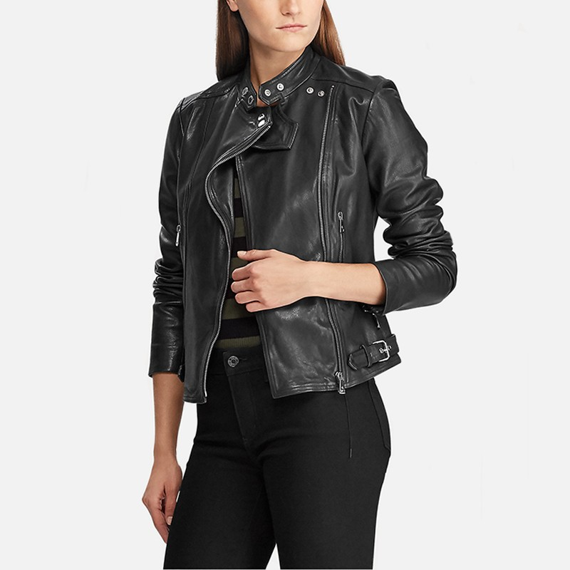 Ladies Real Leather Biker Style Standing Collar Casual Jacket Black Brown Tan