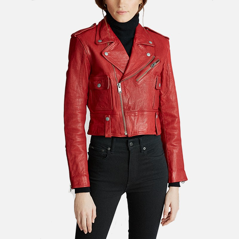 Womens Red Biker Leather Jacket