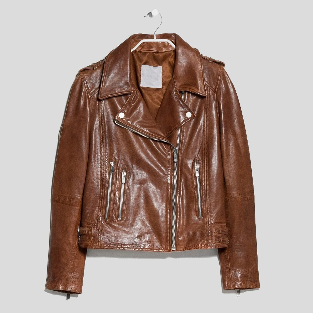 Emma Brown Motorcycle Genuine Leather Jacket