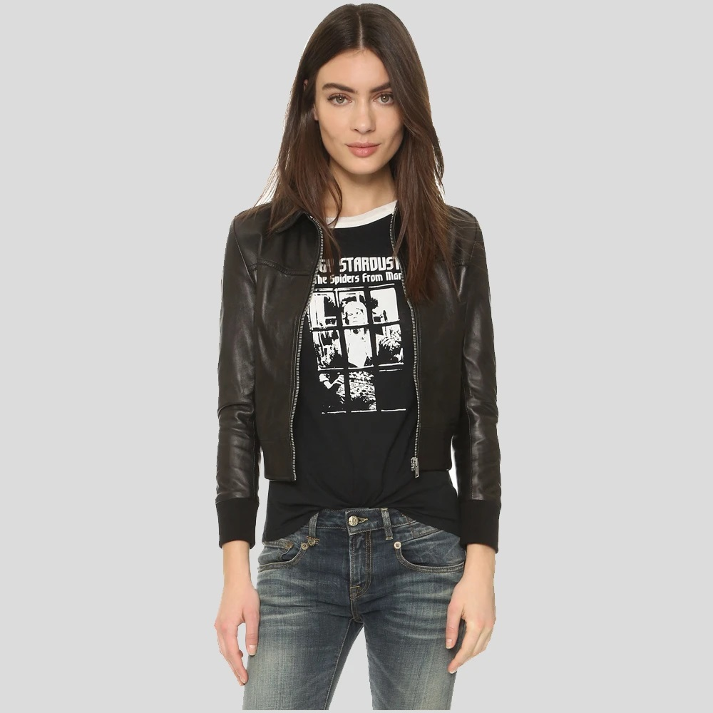 Halle Berry Black Bomber Leather Jacket