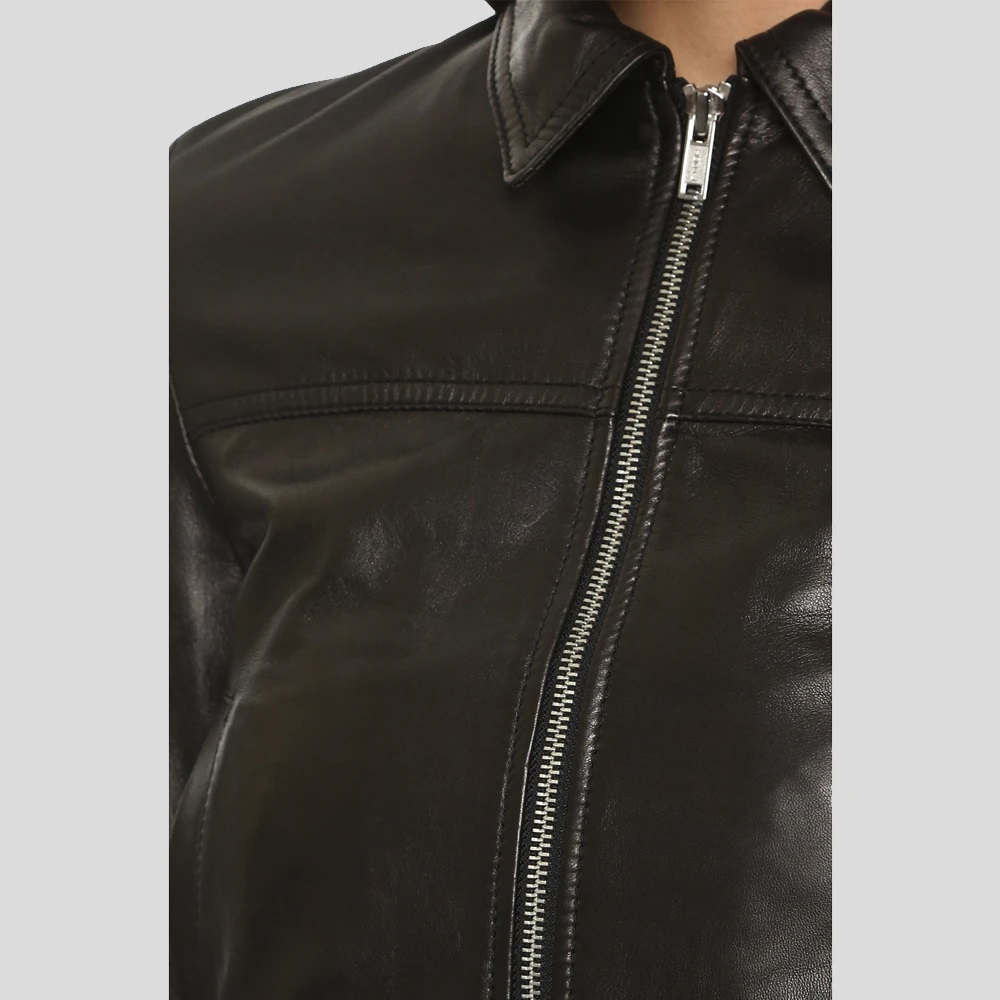 Halle Berry Black Bomber Leather Jacket