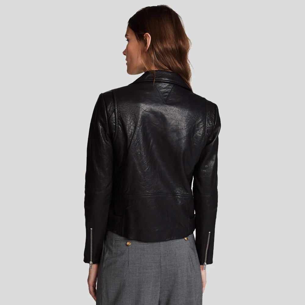 Jayne Classic Black Biker Leather Jacket
