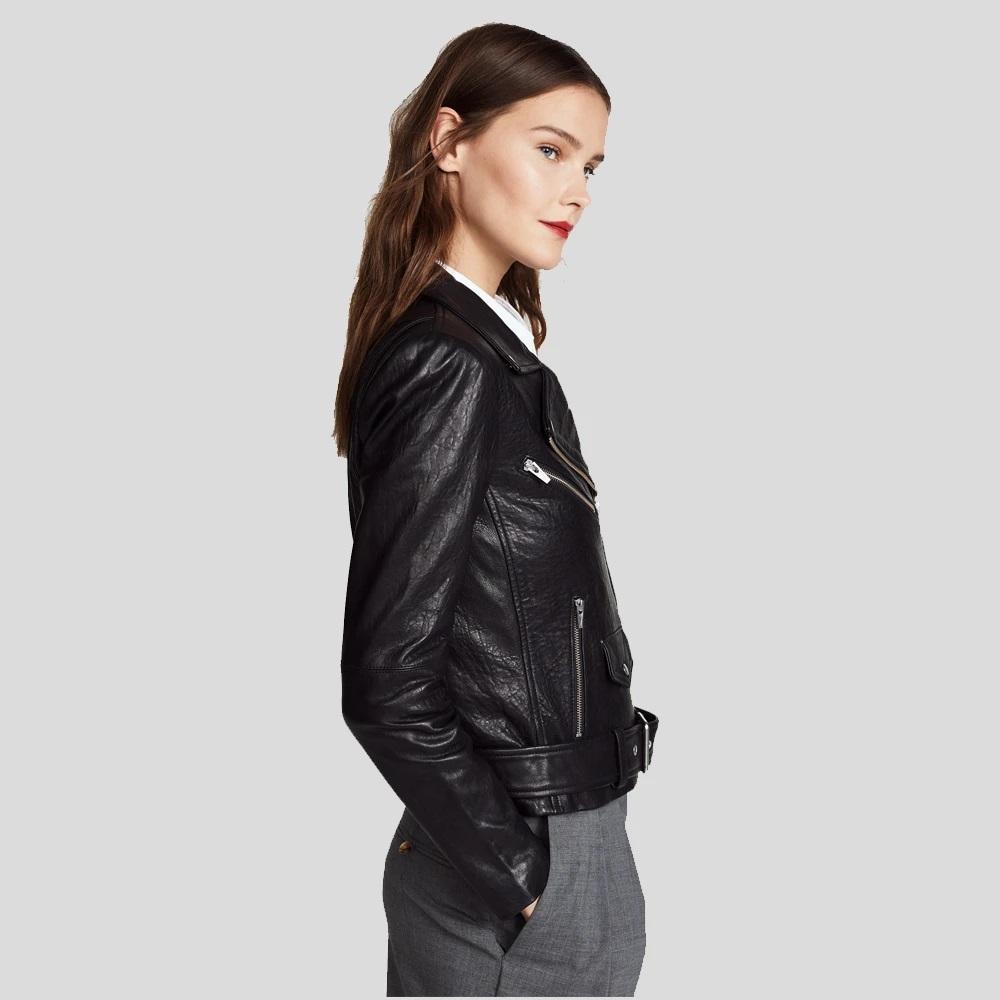 Jayne Classic Black Biker Leather Jacket