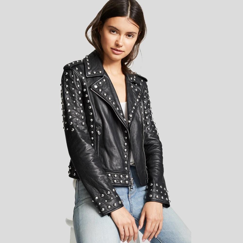 Womens Black Studded Leather Jacket Biker Style Leather Jacket