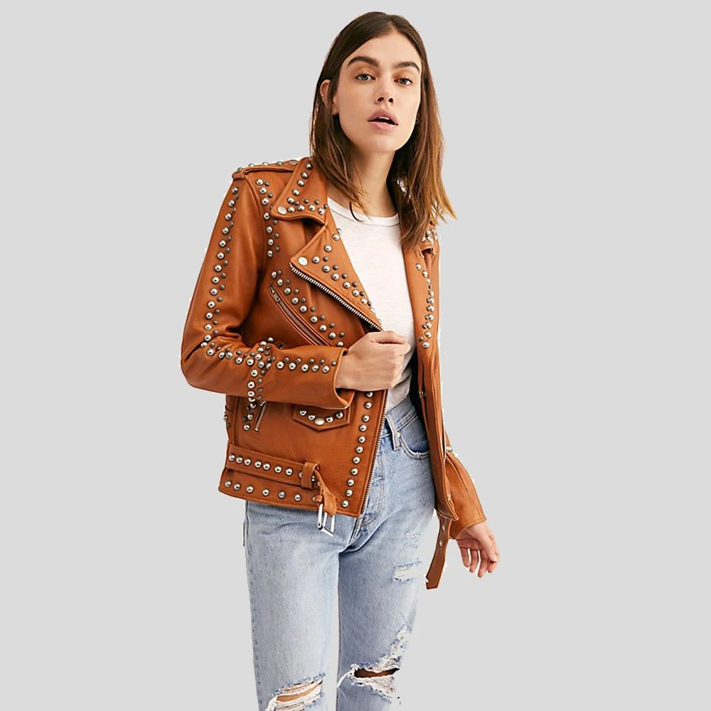 Womens-Tan-Studded-Leather-Jacket