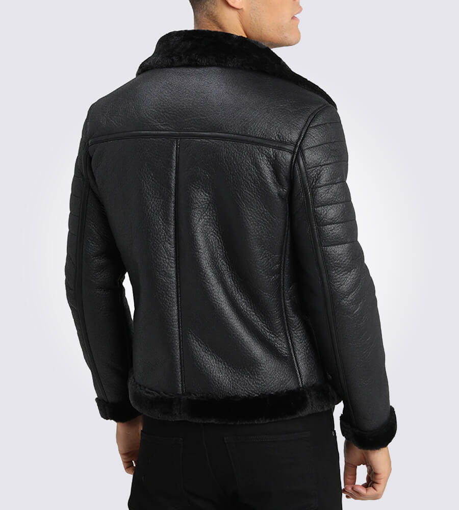 Brave Black Shearling Leather Jacket