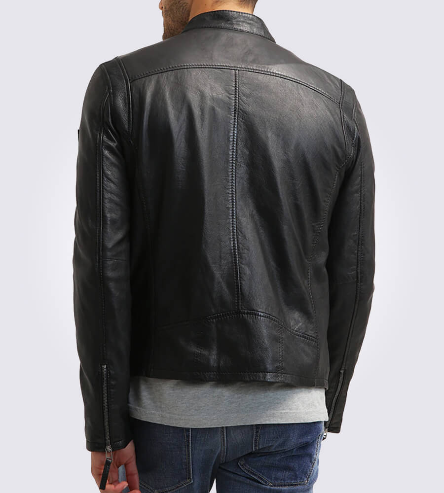 Cobie Classic Black Motorcycle Leather Jacket