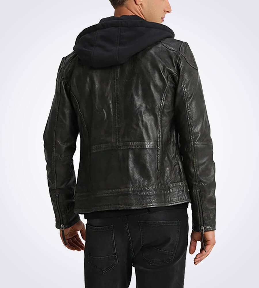 Eric Black Hooded Leather Jacket