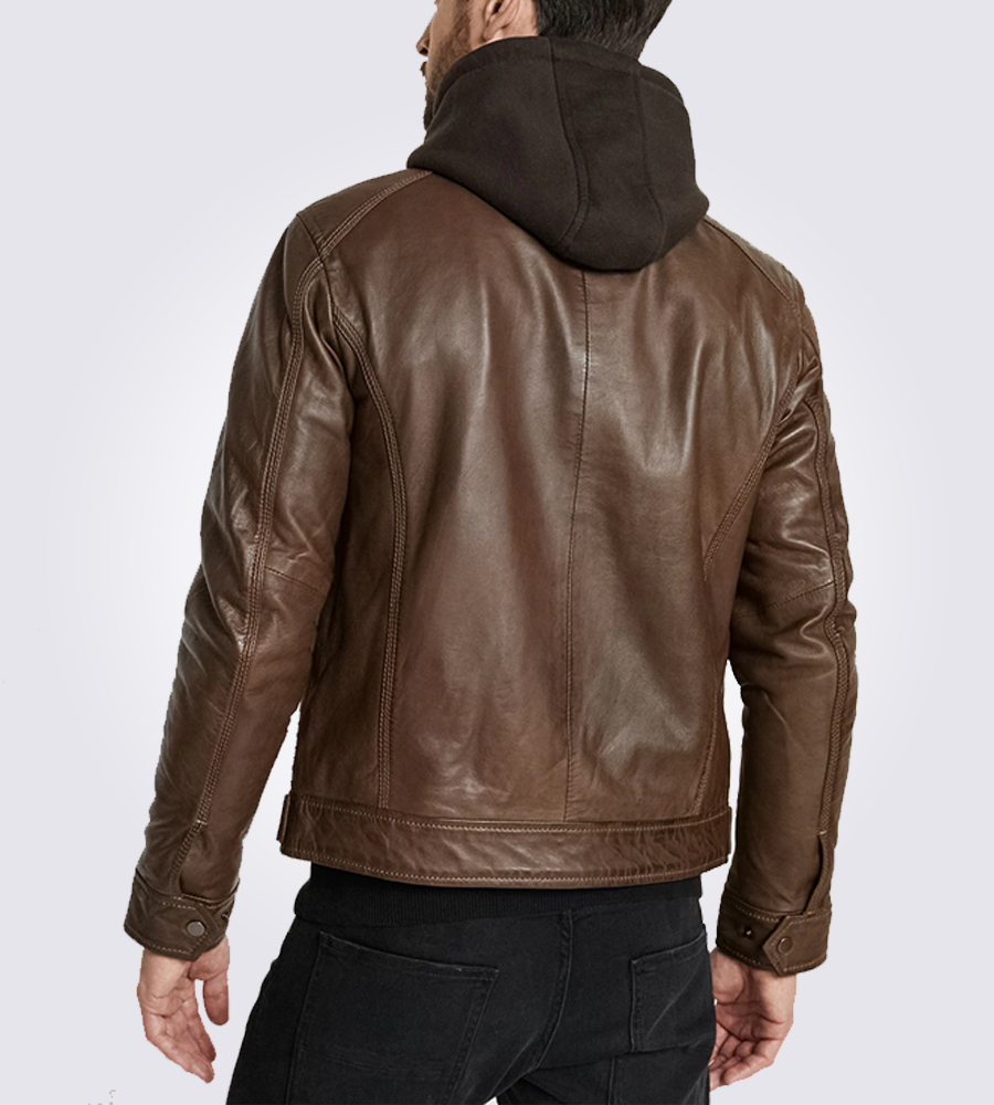 Eric Brown Hooded Leather Jacket