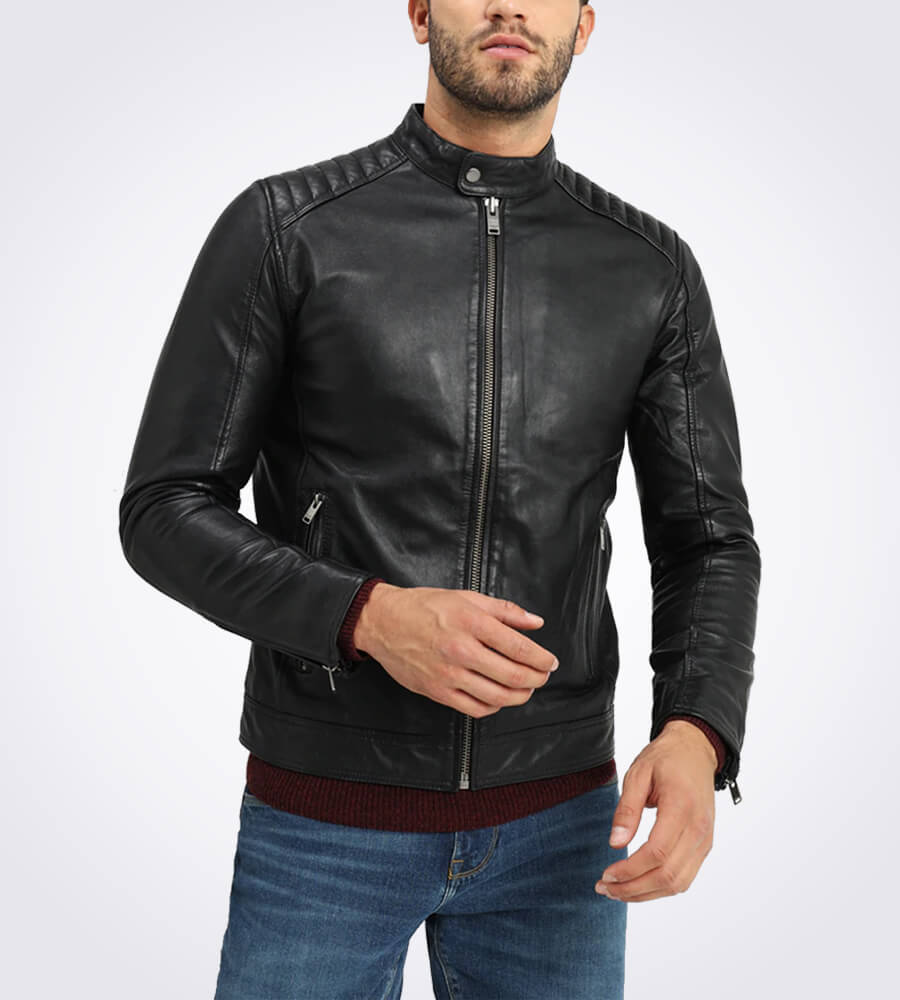 Ethan Casual Black Leather Jacket