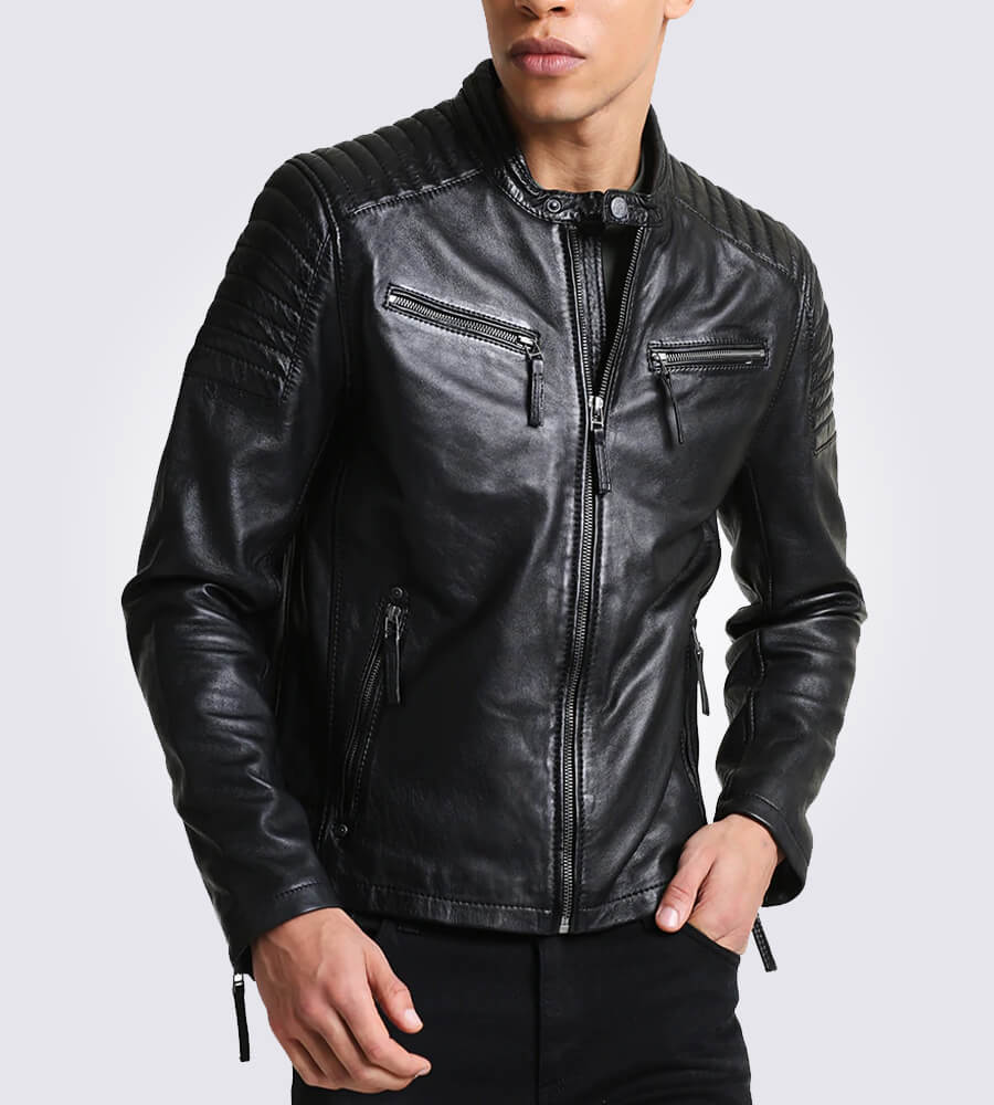 Chester Quilted Black Leather Jacket