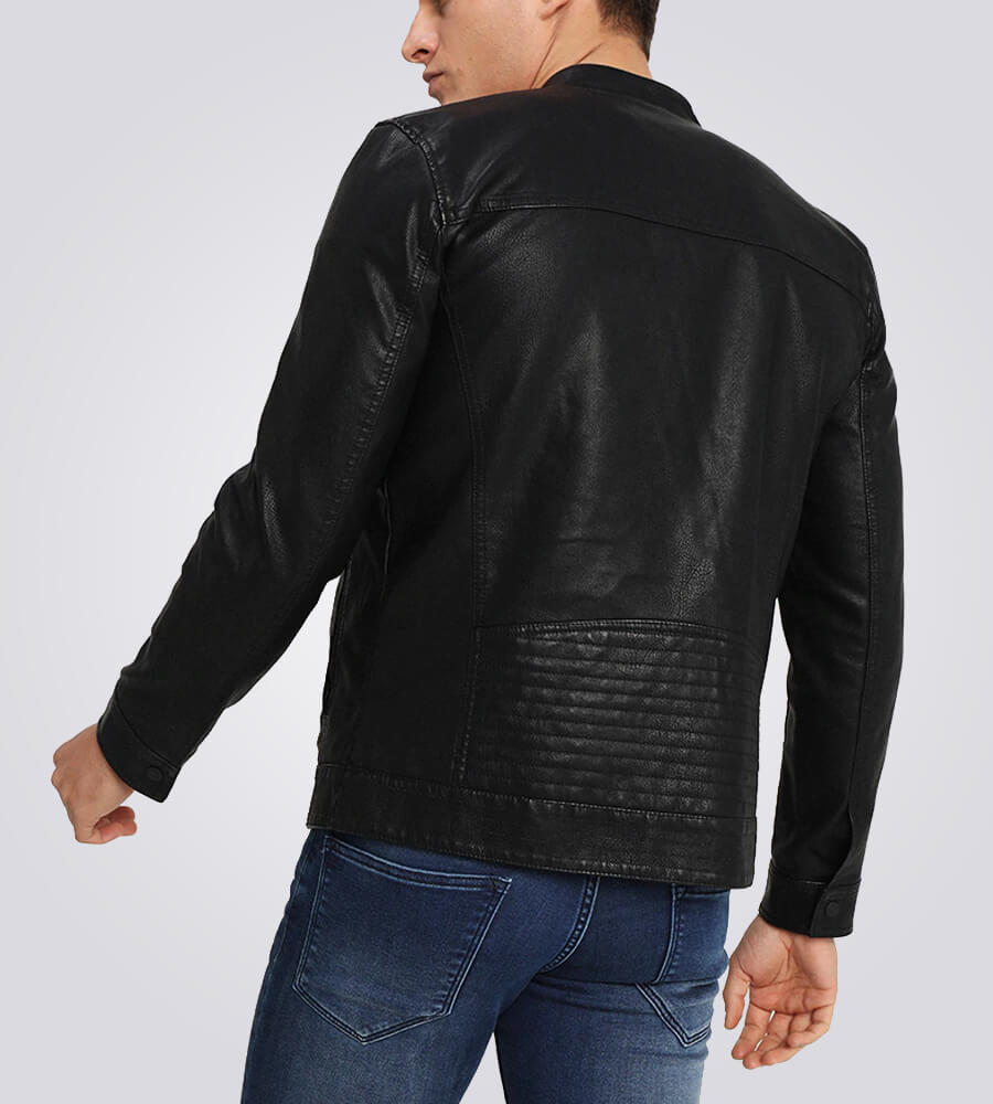 Mens-Classic-Black-Cafe-Racer-Leather-Jacket