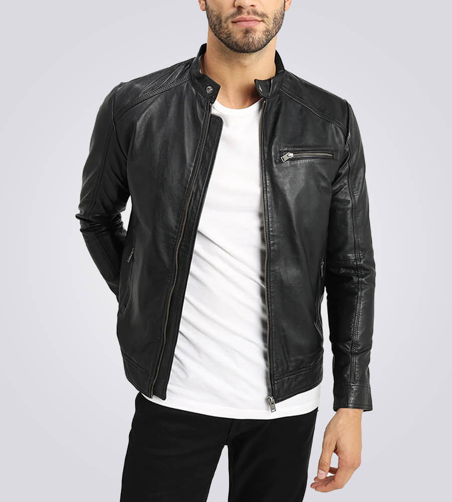Mens Classic Black Cafe Racer Leather Jacket