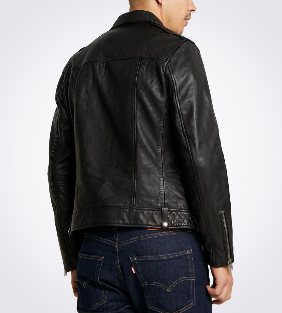 Milo Black Biker Lapel Collar Leather Jacket