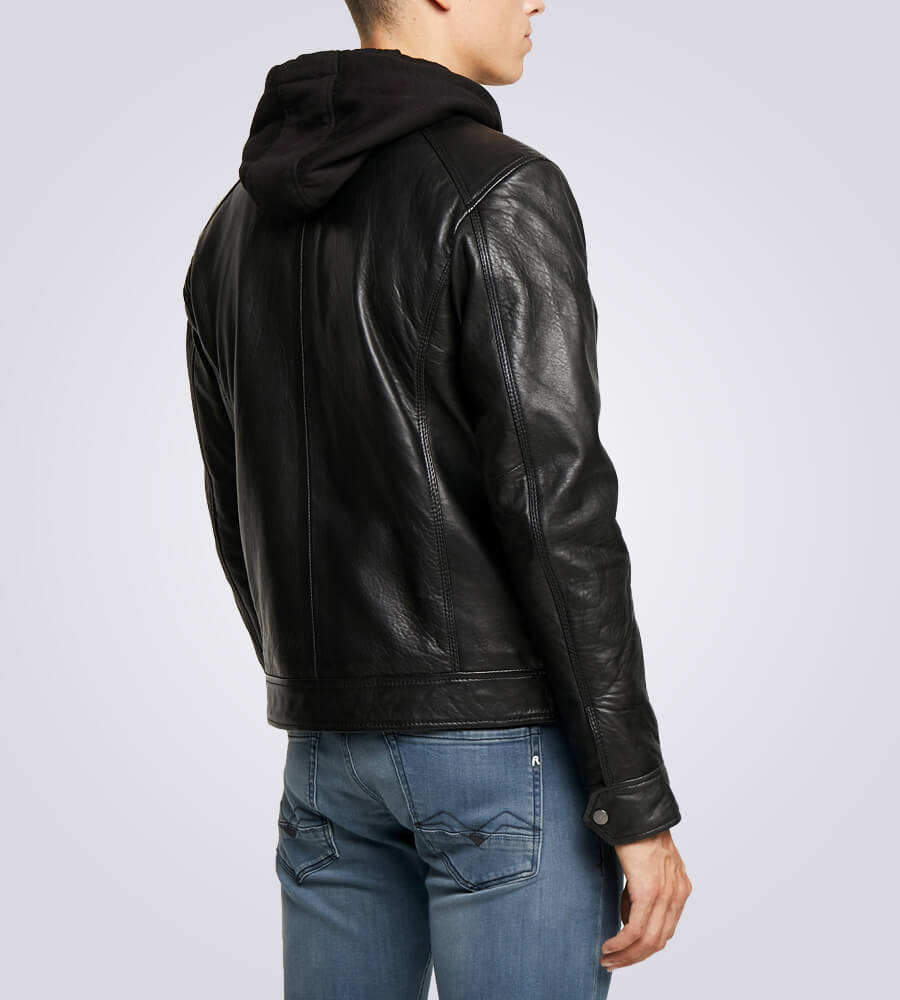 Nils Black Hooded Biker Jacket