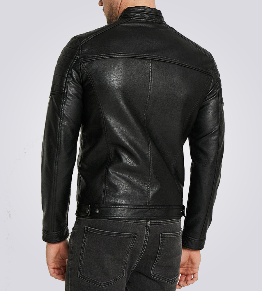 Rocky Men's Casual Black Quilted Biker Leather Jacket